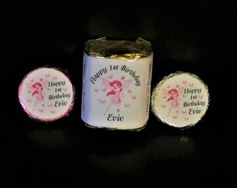 Personalized Pink Fairy Birthday Kiss/CandyNuggets/Mini bubbles labels/stickers **(-: Peel & Stick