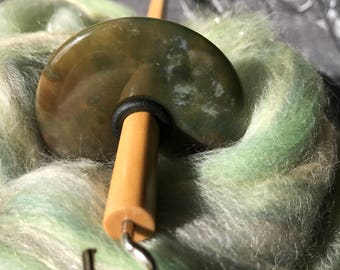 Top Whorl Green Agate Stone Drop Spindle