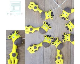 Nursery yellow and brown giraffe felt bunting / garland