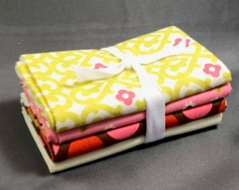 """HUGE SUMMER SALE Indian Summer Fat Quarter Bundle by Zoe Pearn Designs for Riley Blake ~ 4 Pink & Brown 18""""x22"""" PreCut Cotton Quilt Pieces"""