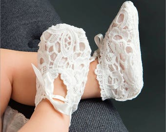 Lola Lace Christening Booties, Light Ivory