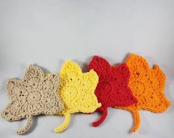 Coasters - crochet coasters - crochet fall coasters - leaf coasters - fall theme coasters - fall leaves coaster - crochet leaf coasters