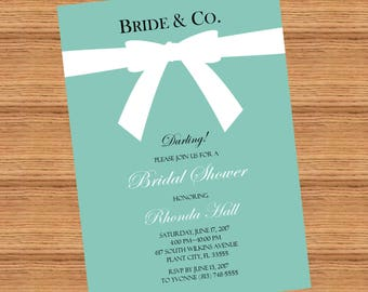 Tiffany themed bridal shower invitation, Breakfast at Tiffany's Bridal Shower *Printable*