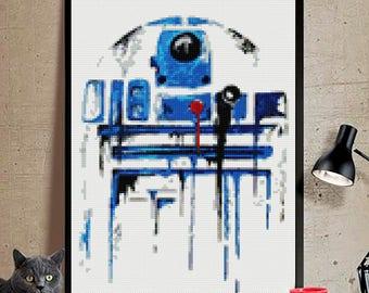 Star Wars cross stitch modern pattern. patrón Star Wars punto de cruz. R2D2  cross stitch. instant download PDF. star wars  cross stitch