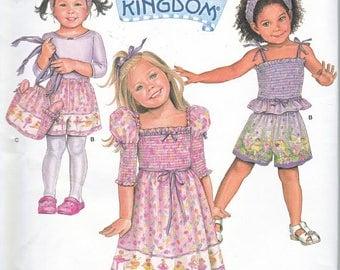 Simplicity 2992, Daisy Kingdom Pattern, Rare, Toddler & Girls Shirred Bodice Dress, Shirred Top, Shorts and Bag, Sz 1/2,1,2,3,4, New UN-CUT
