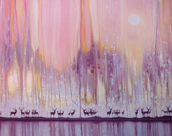 LARGE ORIGINAL Oil Painting - Watchers in the Ice Forest - misty landscape with deer