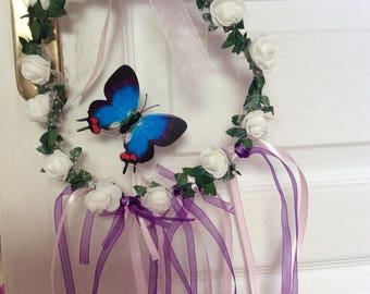Wreath flowers-inspired Dreamcatcher White Pink Purple romantic room child