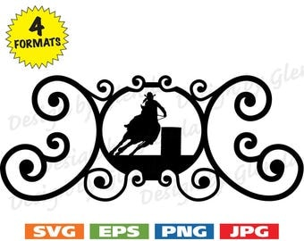 Wrought Iron Look Frame w/Female Barrel Racer Image - svg cutting file PLUS eps/vector, jpg, png - 300dpi