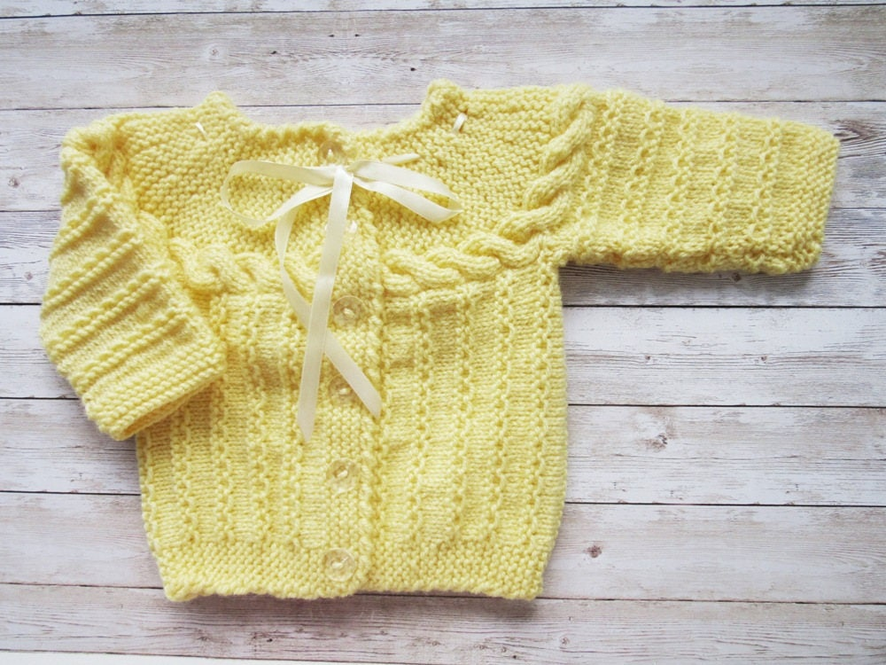 Yellow Baby Cardigan Knit Cardigan 3 12 Months Baby Hand Knit