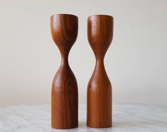 Danish Modern Solid Teak Candlestick Holder Set Of 2 Mid Century Modern Scandinavian Teak Decor 1960's Wooden Candle Holder Set