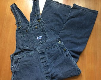 Vintage 80s Big Smith Overalls Perfectly Distressed Denim Button Fly