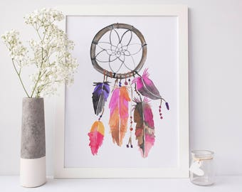 Dreamcatcher Print, Trending Now, Watercolor Art Print, Dream Catcher Art, Instant Download, Best Selling Item, Most Sold, Digital Download