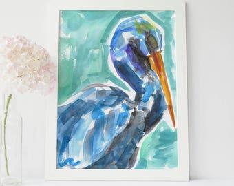 Pelican Painting, Pelican Print, Watercolor Pelican, Art Poster, Coastal Wall Art, Beach Decor, Pelican Decor, Colorful Pelican, Blue Green