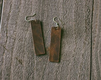 Brown Leather Long Rectangle Earrings