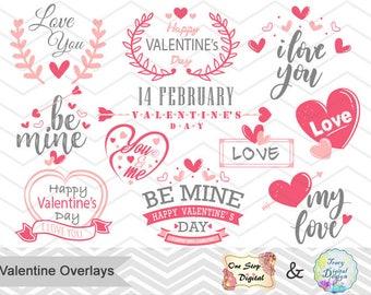 Digital Valentine Clipart, Happy Valentine's Day Photo Overlay Pink Gray Valentine Wording Instant Download Pink Grey Valentine Clipart 0203