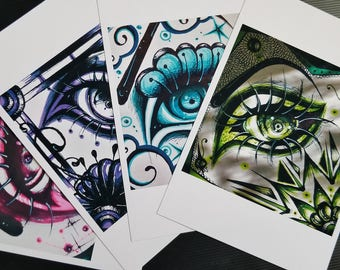 Monochromatic Eye Drawing Art Print Pack OR You Pick!