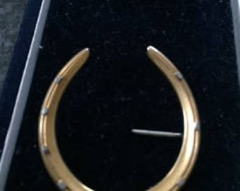 Riker Bros Victorian Two Color 14k Supersize Horseshoe Brooch