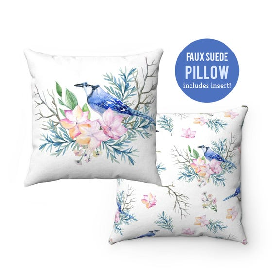 Pillow WITH INSERT - Blue Jay Bird Pillow with Filling - Faux Suede 14x14 Pillow, 16x16 Pillow, 18x18 Pillow, 20x20 Pillow