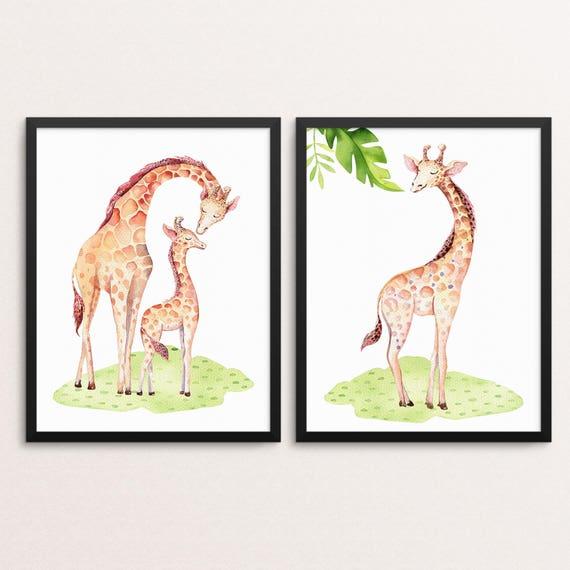 Giraffe Printable Nursery Wall Art - Safari Nursery Decor- African Animal Decor - Gender Neutral Kids Wall Art
