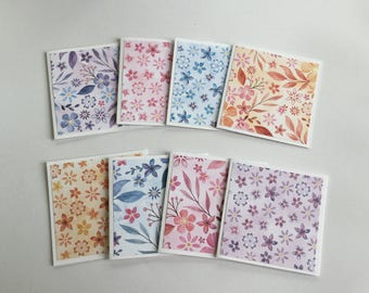 Flower cards, Floral pastel cards, watercolour mini card set, gift cards, thank you cards, note cards, mini notes, set of 8