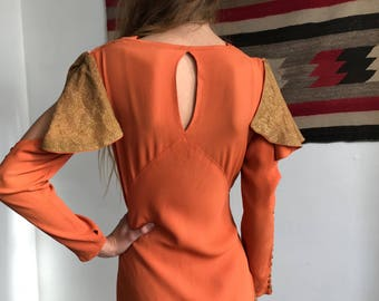 RARE 1930s Pumpkin Orange and Gold Crepe Gown