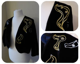 Vintage Black Velvet Gold and Silver Wire  and Sequin Abstratct Embroidered Bolero Size Uk 10-12