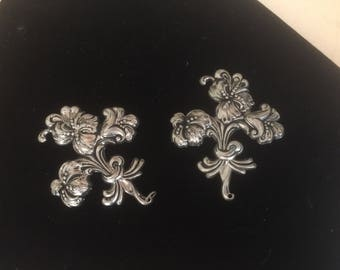 Pair of Silver Floral Brooches