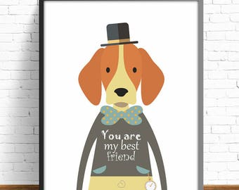 dog print, nursery dog, message print, animal print, dogs, nursery prints, 8x10 , 11x14, 30x40cm, kids room decor, art room, baby room