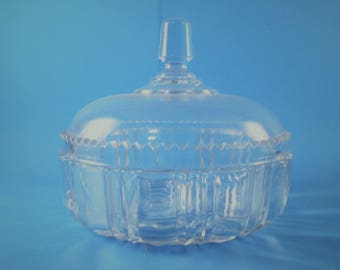 Vintage Antique Clear Glass Covered Candy Dish Great for Holidays and Get Togethers!!