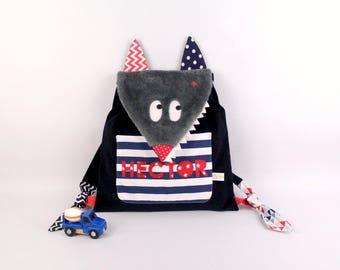 Sac à dos loup brodé prénom Hector école maternelle sac enfant bébé crèche personnalisable bleu marine rouge style marin cartable garçon