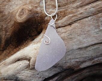 Pale Lavender Large Sea Glass Pendant Necklace  from San Juan Island, Washington