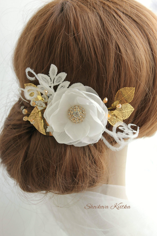Wedding Gold White Flower Hair Piece Bridal Accessories