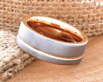 Tungsten Matching Wedding Ring Set Rose Gold Wedding Band Ring 8mm 18K Men Women Anniversary Promise Engagement Wedding Matching Ring
