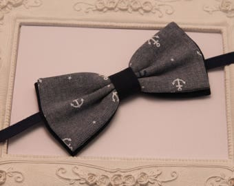 Double bowtie print fabric blue anchors - man