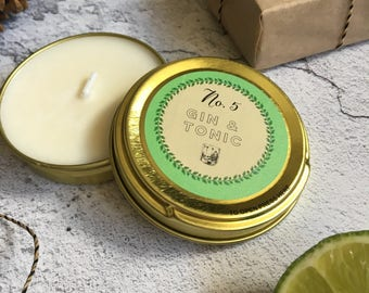 Gin and Tonic - soy wax - scented candle - container candle - in a gold tin - with - gin and tonic fragrance - stocking filler - christmas