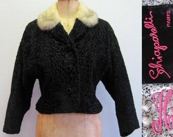 50s Schiaparelli Persian lamb jacket with fur collar, Persian lamb coat, astrakhan coat