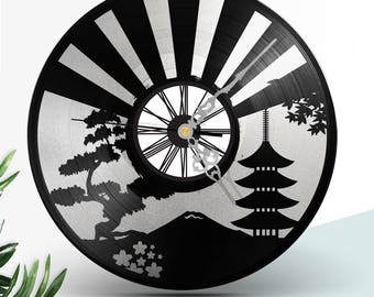 Vinyl Records clock Two Layers Black & Marble // Japan Asia