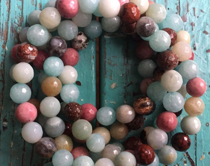 Stackable Mala Inspired Spiritual Junkies Amazonite, Rhodonite + Red Jasper Yoga and Meditation Bracelet (single bracelet)