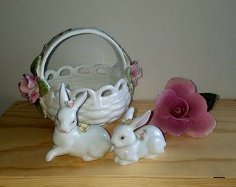 Basket with Pink Roses, Easter basket, Bone China PIA Philippines 1985