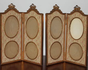Antique Pair of French Large Bow Top Double Hinged Picture Frame with Silk