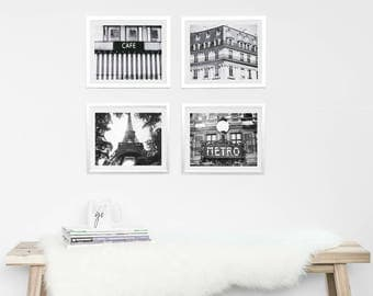 Paris Photography Set // Prints Gallery Wall // Set of 4 // Black and White // Large Wall Art // Travel Prints // Paris Decor