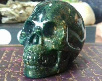 Dark Green Jasper Hand Carved Crystal Skull - Crystal Healing, Crystal Carving, Crystal Skull, Skull Carving, Crystal Energy  GJ6
