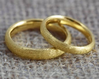 His and Hers Court Profile 18ct Gold 'Lochy' Wedding Bands