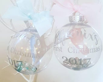 Baby's First Christmas Personalised Bauble, Baby Bauble, Baby Gift, Blue, Pink, Tree Decoration,  Name Of Your Choice