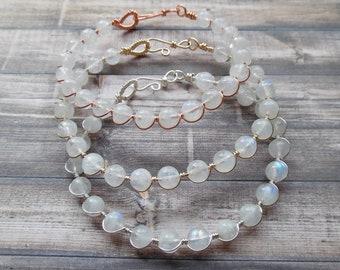 Moonstone Bracelet, Gemstone Wrap Bracelet, Rainbow Moonstone Jewelry, Cuff Bracelet, Silver Gold Copper Moonstone Bracelet, Healing Crystal