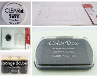 Accessoires tampons stamp Encreur / supports / Doigt mousse / Gomme a graver Artemio Scrapbooking carterie