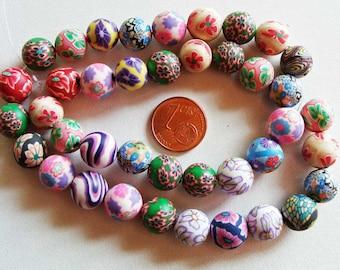 40 perles en fil fimo motifs aléatoires Rondes 10mm FIM11 création bijoux
