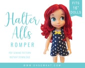 Animators Doll Clothes Sewing Pattern fits 16 inch Princess dolls like Animators -  HalterAlls Romper - epattern - easy to sew Overalls