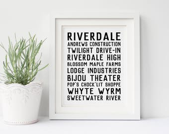 Riverdale DIGITAL Poster- Riverdale Places, Archie, Betty, Veronica, Jughead, Riverdale Print, Digital Download, Instant Download, Printable