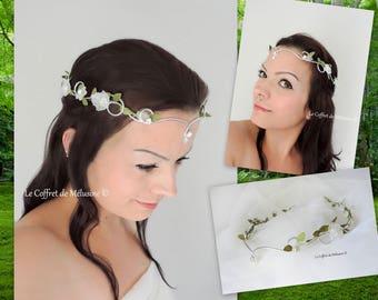 "Flower wedding tiara Crown ""Ekya"" white and green leaves"